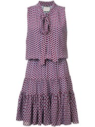 Alexis Spotted Pussy Bow Dress Women Silk Polyester S Pink Purple