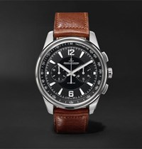Jaeger Lecoultre Polaris Chronograph 42Mm Stainless Steel And Leather Watch Black