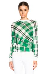 Stella Mccartney Solid Check Sweater In Green Checkered And Plaid