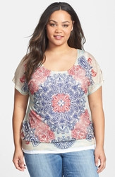 7 For All Mankind 'Mosaic' Print Cold Shoulder Top Plus Size Multi
