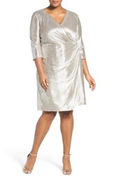 Tahari Plus Size Women's Foil Knit Faux Wrap Cocktail Dress