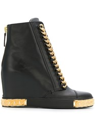 Casadei Chain Embellished Wedge Sneakers Black