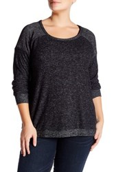 Harlowe And Graham Scoop Neck Fleece Pullover Sweater Plus Size Black