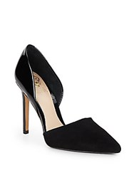 Vince Camuto Norell Patent Leather And Suede Point Toe D'orsay Pumps Black