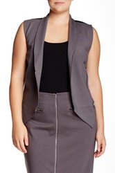 Mynt 1792 Asymmetrical Zip Vest Plus Size Purple