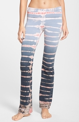 Hard Tail Bootcut Knit Pants Gray Pink Tie Dye