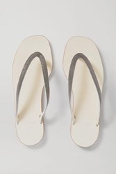 Brunello Cucinelli Beaded Leather Flip Flops Off White