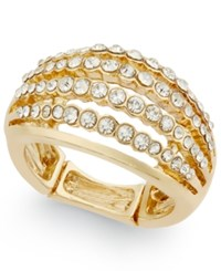 Inc International Concepts Gold Tone Multi Row Crystal Stretch Ring Only At Macy's