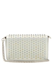 Christian Louboutin Zoompouch Spike Embellished Leather Cross Body Bag White Multi
