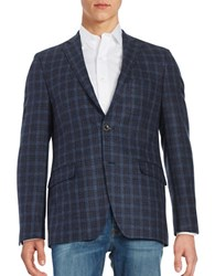 Black Brown Plaid Wool Blazer Blue