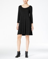 Styleandco. Style Co. Three Quarter Sleeve Shift Dress Only At Macy's Deep Black