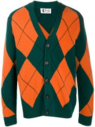 Pringle Of Scotland Argyle Knit Cardigan Green