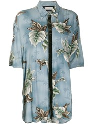 Night Market Hawaii Short Sleeve Shirt Blue