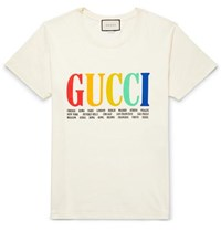 Gucci Printed Cotton Jersey T Shirt Cream