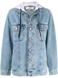 Natasha Zinko Oversized Hooded Denim Jacket Blue