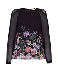 Yumi Floral Blouse With Lace Shoulders Black