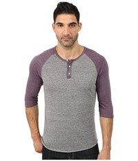 Alternative Apparel 3 4 Raglan Henley Eco True Purple Haze Men's Long Sleeve Pullover Gray