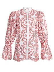 Alexander Mcqueen Broderie Anglaise Cotton Blouse White Multi
