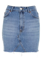 Topshop Tall High Waisted Denim Skirt Mid Stone