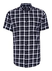 Topman Black And White Check Short Sleeve Casual Shirt