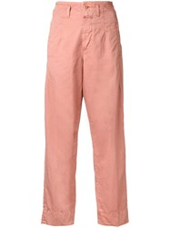 Closed Straight Cropped Trousers Pink Purple