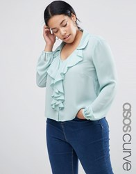 Asos Curve Soft Blouse With Ruffle Front Mint Green