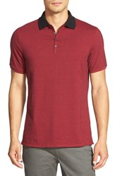 Men's Vince Camuto Marled Stripe Jersey Polo Chili Pepper Mix