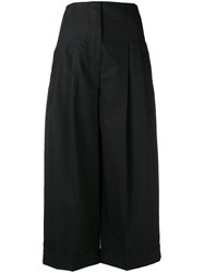 Celine Pleated Front Cropped Trousers Black