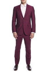 Strong Suit By Ilaria Urbinati Kilgore Slim Fit Solid Wool And Mohair Nordstrom Exclusive Red Plum