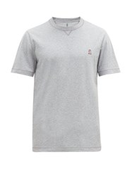 Brunello Cucinelli Contrast Embroidered Cotton T Shirt Grey