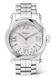 Chopard Happy Sport 36 Stainless Steel And Diamond Watch Silver