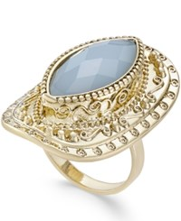 Inc International Concepts Gold Tone Blue Stone Openwork Statement Ring Only At Macy's