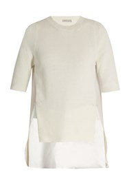 Moncler Contrast Panel Round Neck Cotton Top White