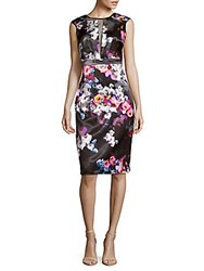 Nicole Miller Floral Print Sheer Paneled Dress Black Multicolor