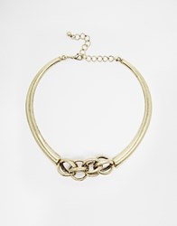 Warehouse Chain Detail Gold Torq Necklace Antiquegold