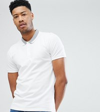 Selected Homme Tall Polo Shirt With Tipping Bright White