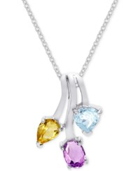 Victoria Townsend Multi Gemstone Drop Pendant Necklace 2 1 2 Ct. T.W. In Sterling Silver