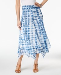 Style And Co Petite Cotton Tie Dyed Handkerchief Hem Skirt Only At Macy's Ocean Dye Blue