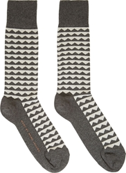 Marc By Marc Jacobs Grey Zig Zag Socks