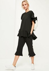 Missguided Black Oversized Peplum Frill T Shirt