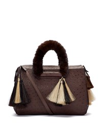 Classic 5 Ostrich Mink Fur Handle Tote Bag Charcoal Brown The Row