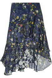 Preen By Thornton Bregazzi Laboni Floral Print Devore Silk Blend Chiffon Midi Skirt Navy