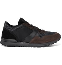 Tod's Suede Leather And Mesh Sneakers Black