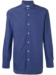 Barba Micro Print Shirt Men Cotton 39 Blue
