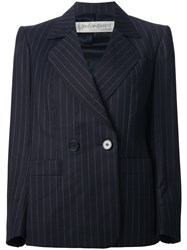 Yves Saint Laurent Vintage Pinstripe Skirt Suit Blue
