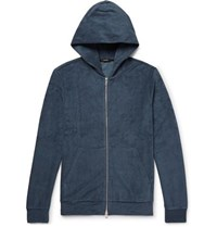 Theory Slim Fit Pima Cotton Terry Zip Up Hoodie Storm Blue