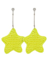 Venessa Arizaga Neon Yellow Woven Star And Crystal Embellished Yellow And Orange