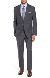 Peter Millar Men's Big And Tall Classic Fit Plaid Wool Suit Grey