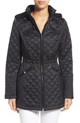 Women's Laundry By Design Hooded Quilted Coat Black