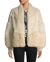 Kobi Halperin Connie Patched Lamb Fur Jacket Champagne
